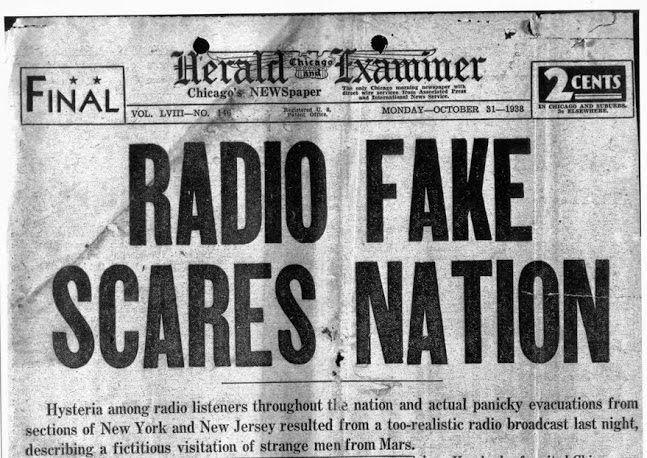 war of the worlds newspaper title 1938